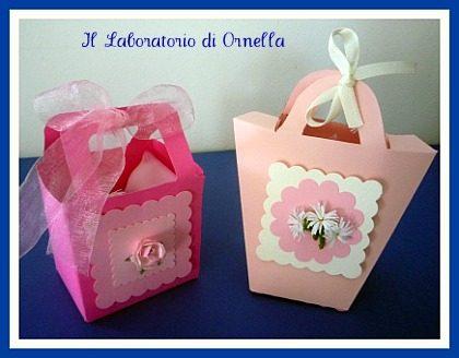 Portaconfetti e sacchettini in tulle e carta di riso: rosa e lilla